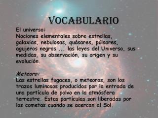 VOCABULARIO ASTRONÓMICO - 4º A